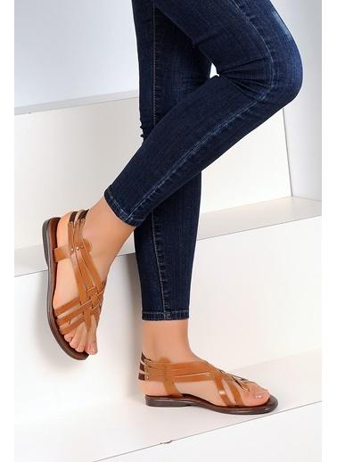 Pembe Potin A2105-19 Kadın Sandalet Taba